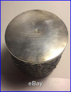 Chinese Antique Sterling Silver Ornate Tea Caddy Box