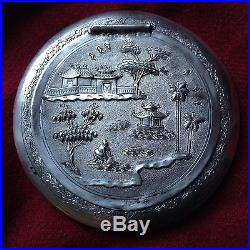 Chinese Antique Sterling Silver Powder Box Phoenix Photo Frame House Stamp Seal