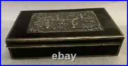 Chinese Black Lacquer Silver/Copper Plated Box WithBeautiful Handmade Sterling Top