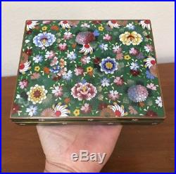 Chinese CLOISONNE Green Enamel FLORAL Humidor Jar Box Silver Inside 6