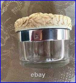 Chinese Canton Carved Canton And Silver Box Pill / Sewing Counter Box 19th