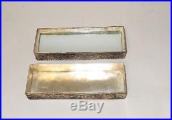 Chinese Carved White Jade Silver Plated Metal Trinket Makeup Mirror Jar Box