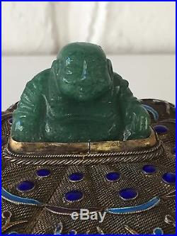 Chinese Early 20th C Silver Enameled Box With Jade Buddha Gold Wash