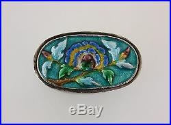 Chinese Enameled Silver Opium Box Hallmarked antique