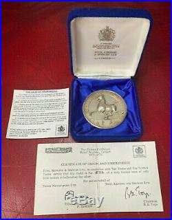 Chinese Exhibition 1973-74 Sterling Silver High Relief Medallion Boxed with- COA