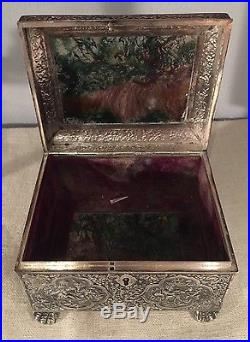 Chinese Export Antique Magnificent Sterling Silver & Moss Agate Large Box