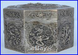 Chinese Export Antique amazing Sterling Silver fine detail 3D decoration BIG Box