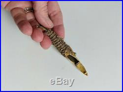 Chinese Export Articulated Fish Turquoise Vermeil 800 Silver Spice Box Pendant