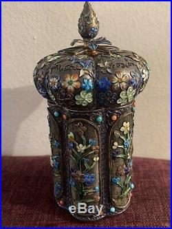 Chinese Export Filigree Silver Tea Caddy Box Gilt Enamel Turquoise Flower Heavy