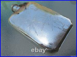 Chinese Export Flask Antique Sterling Silver Bamboo Handmade Nanking Old Rare