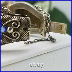 Chinese Export Jade Art Deco Enamel Filigree Sterling Silver Bracelet VC6264-2
