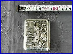Chinese Export Silver Box Argent Massif Chine Etui A Cigarettes Parfait Etat