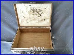 Chinese Export Silver Box Argent Massif Chine Grand Coffret Decor Dragon