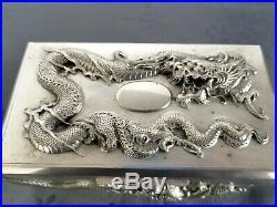 Chinese Export Silver Box Dragon Hung Chong Boite Chine Argent Massif Dragon