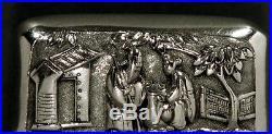 Chinese Export Silver Box KW c1890 Unique Flip Top
