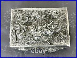 Chinese Export Silver Box Solid Silver China Large Boxset Decoration Dragon