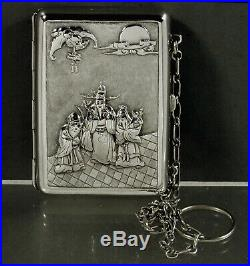 Chinese Export Silver Box c1890 Elders & Child- Dragons