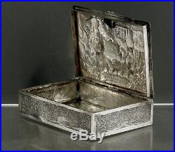 Chinese Export Silver Box c1890 Wang Hing TAX COLLECTOR HOLDING COURT