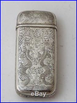 Chinese Export Silver Cheroot Case Unmarked