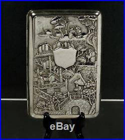 Chinese Export Silver Cigar Case c1880 WOSHING FOUR LEVEL FIGURE SCENE