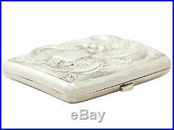Chinese Export Silver Cigarette / Card Case Antique Circa 1900