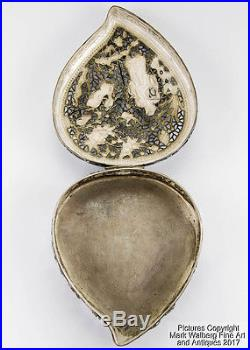 Chinese Export Silver Covered Box in Peach Form, Pierced Repoussé, 19th Century