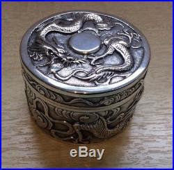 Chinese Export Silver Dragon Box By Wang Hing circa 1890 RARE PIECE