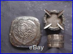 Chinese Export Silver Dragon Box Lot Argent Massif Chine