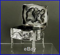 Chinese Export Silver Dragon Box c1890 Wang Hing 15 Ounces