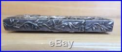 Chinese Export Silver Dragon Decorated Card Case by Wang Hing