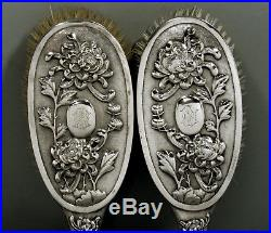 Chinese Export Silver Hair Brushes (2) c1890 Hung Chong