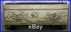 Chinese Export Silver Jade Box c1890 Wang Hing