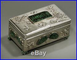Chinese Export Silver & Jade Box c1890 Wang Hing ONE OF A KIND