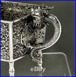 Chinese Export Silver Jardiniere BOX c1875 LUENWO DRAGONS IN FLAMES