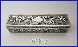 Chinese Export Silver Rectangular Box by CUM SHING China c. 1890