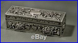 Chinese Export Silver Scolar's Box c1890 Hung Chong