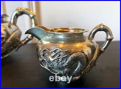 Chinese Export Silver Tea Set with Original Box Zee Wo