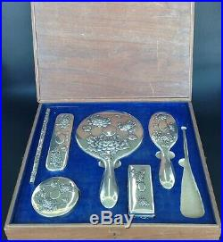 Chinese Export Silver Vanity Set Kwong Man Shing Hong Kong C1900 In Box