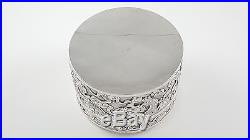 Chinese Export Solid Silver Cylindrical Box Wang Hing & Co C1890