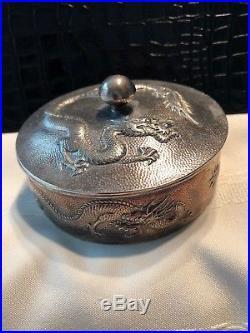 Chinese Export Wang Hing Sterling Silver Dragon Circular Box