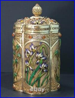 Chinese Gilt Silver Enamel Filigree Tiger Eye Iris & Bamboo Motif Box 20th C