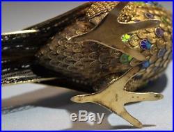 Chinese Gilt Silver Filigree Enamel Large Pheasant Bird Figure Box 20th Century