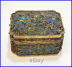 Chinese Gilt Silver Filigree Enamel & Semi-Precious Stone Potpourri Box, c1900