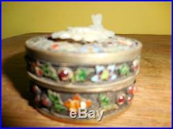 Chinese Gilt Silver Lidded Jade / Enamel & jeweled box, 18th Ching