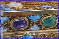 Chinese Gilt Silver, White Jade, & Stone Covered Box /tea Caddy