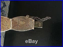 Chinese Gilt Sterling Silver Enamel Turquoise Stones Bracelet Filigree Orig Box