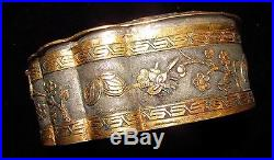 Chinese Gold&silver Boxes gilt bronze plate silver flower vein covered boxes