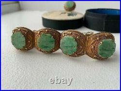 Chinese Jade Jadeite Carved Gilt Silver Filigree Bracelet Set With Original Box