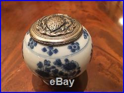 Chinese Kangxi Blue and White Jar with Silver Cover and Rosewood Base, Damaged