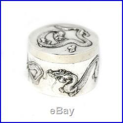Chinese Luen Hing Circular Silver Trinket Box